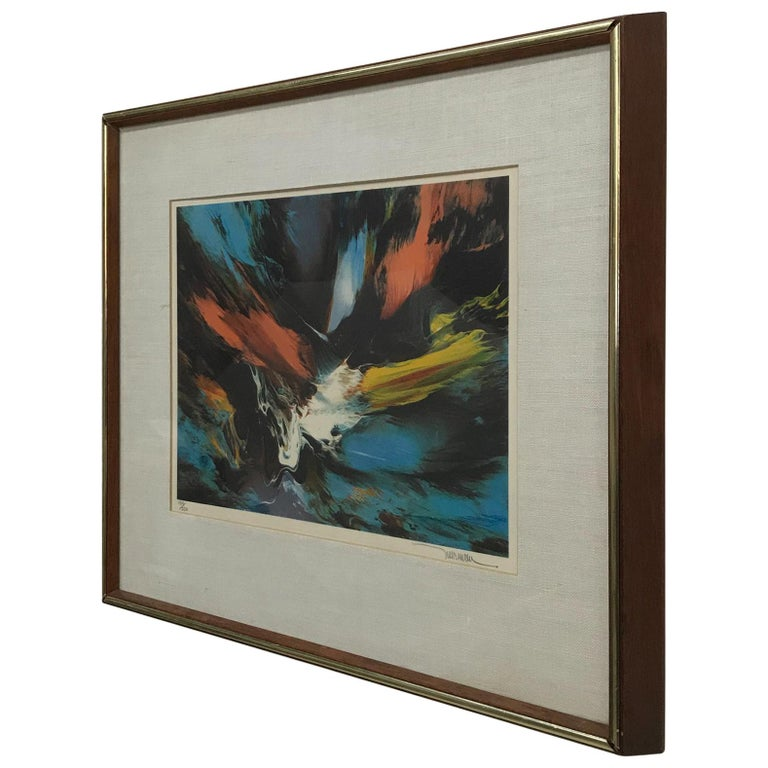 Small Abstract Wall Art Leonardo Nierman Lithograph #2 Signed 184/250 For Sale