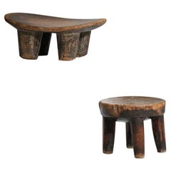 Small African Stools Senoufos Dogons in Solid Wood 1960s