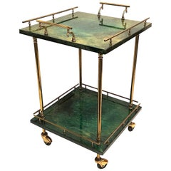 Small Aldo Tura square Bar Cart in Green Goatskin Trolley
