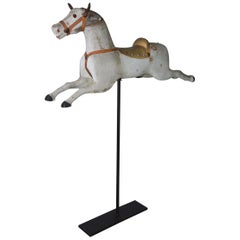 Small American Carousel Horse on Stand