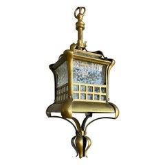 Small and Stunning Jugendstil Brass, Bronze and Glass Pendant / Light Fixture