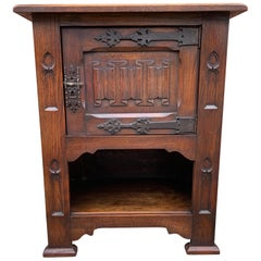 Small and Stunning Multi Purpose Gothic Revival Hand Carved Tiger Oak Cabinet