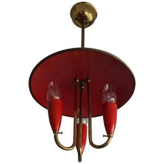 Small and Stylish Mid-Century Modern Brass and Red Bakelite Chandelier / Pendant