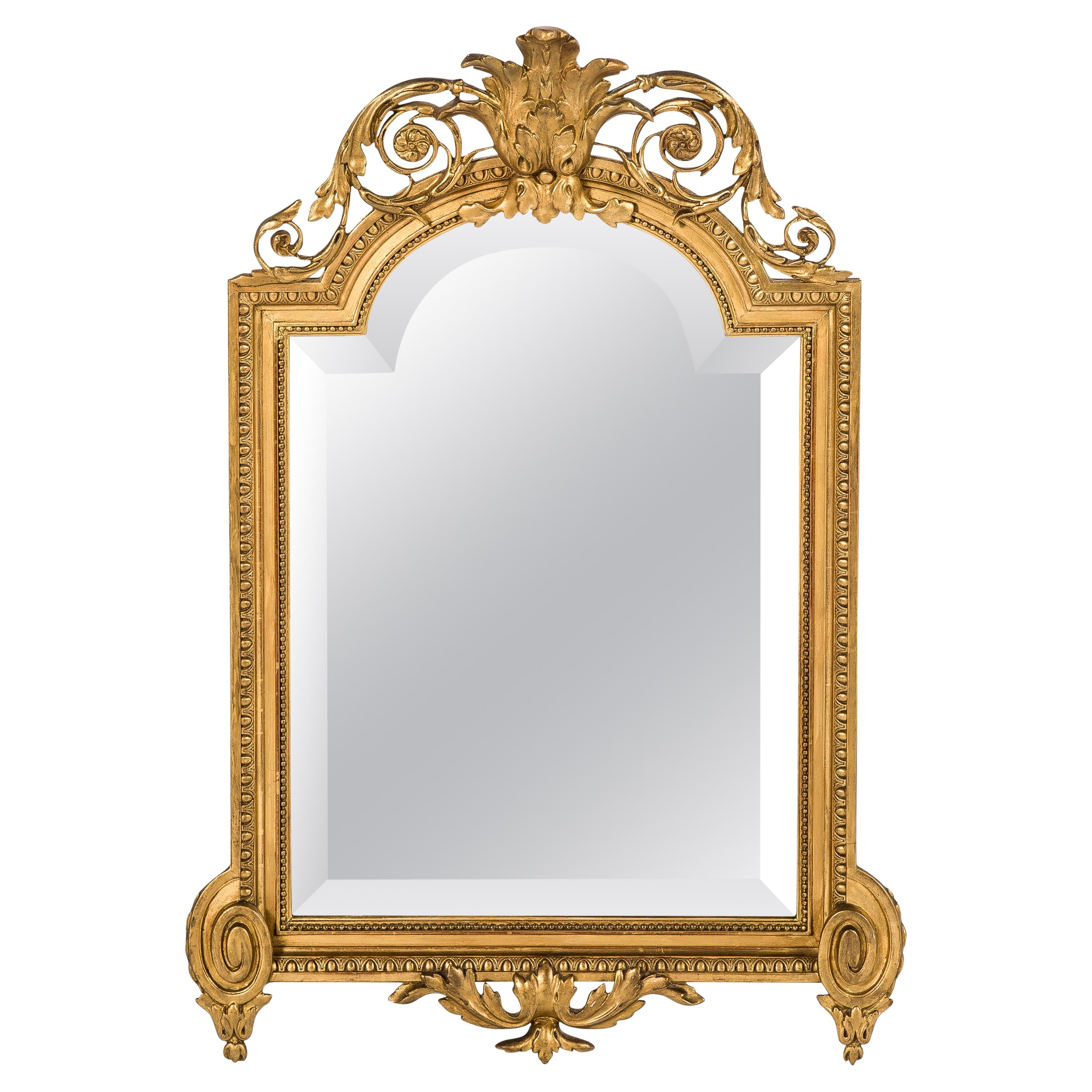 Small Antique 19th Century French Louis Seize Gold Gilt Mirror with Crest