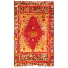 Small Antique Angora Small Turkish Oushak Rug with Vibrant Red, Green and Gold
