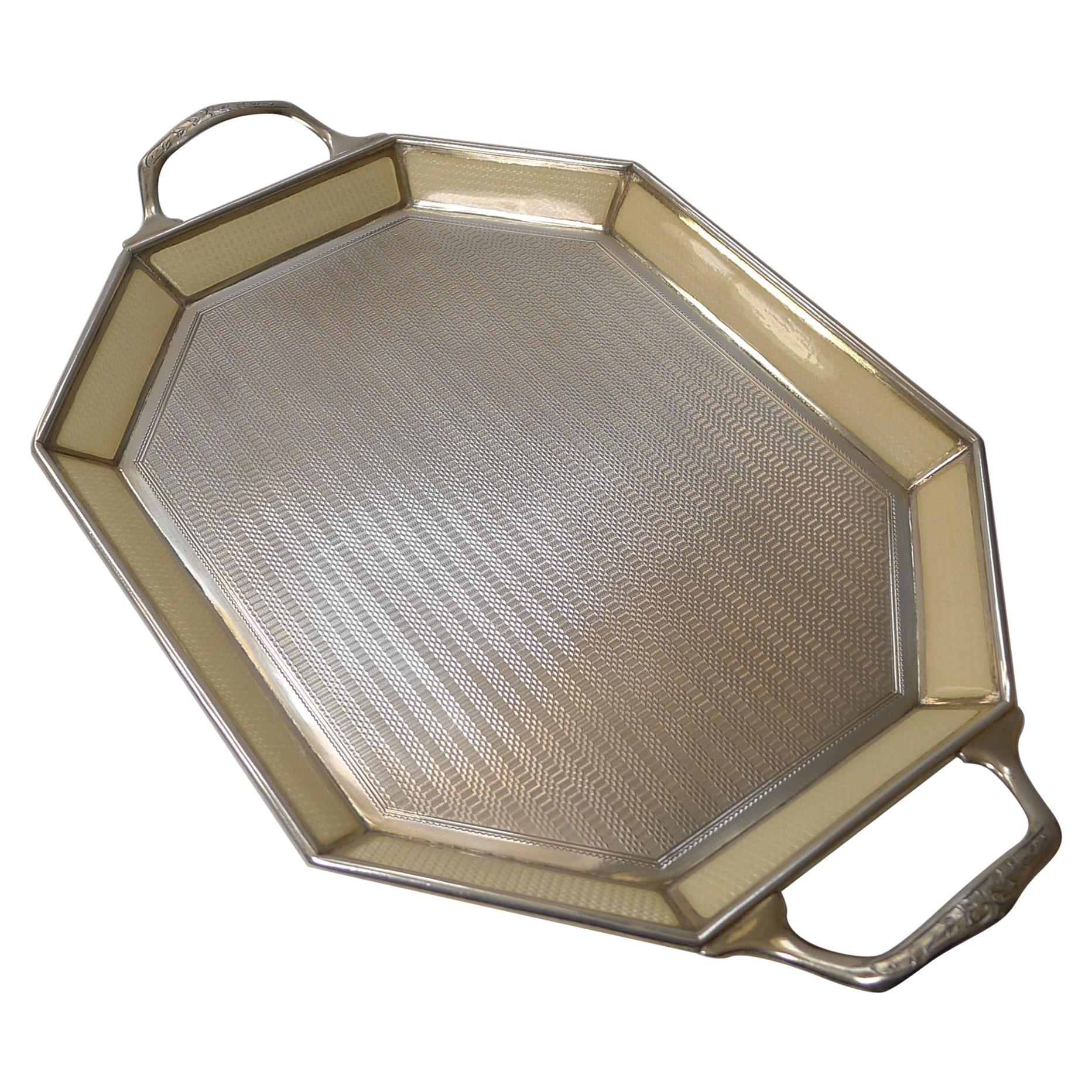Small Antique Belgian Sterling Silver and Guilloche Enamel Tray, c.1920