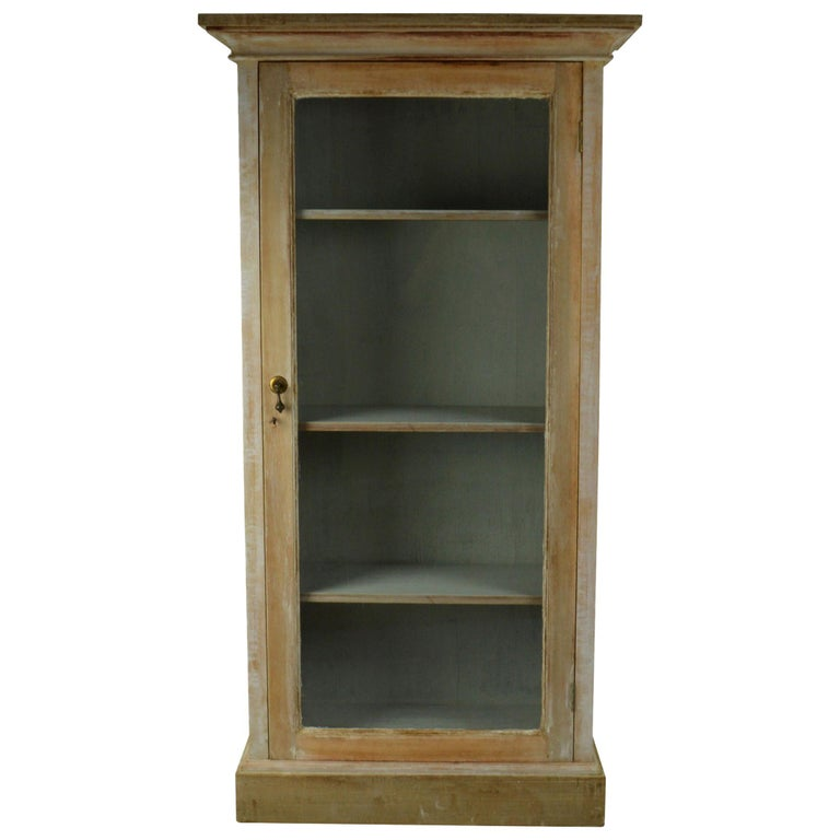 Small Antique Bleached Mahogany Cabinet or Bookcase For Sale