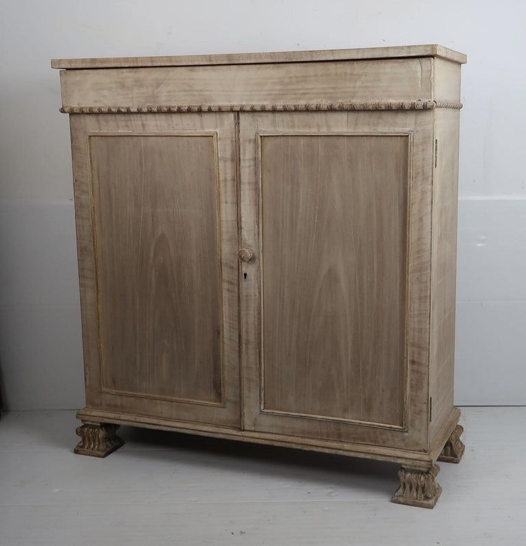 Fabulous small bleached mahogany side cabinet, buffet or server  In Palladian or neoclassical style  I particularly like the beaded detail on the bottom edge of the drawer and the amazing feet  Beautifully figured mahogany particularly on the