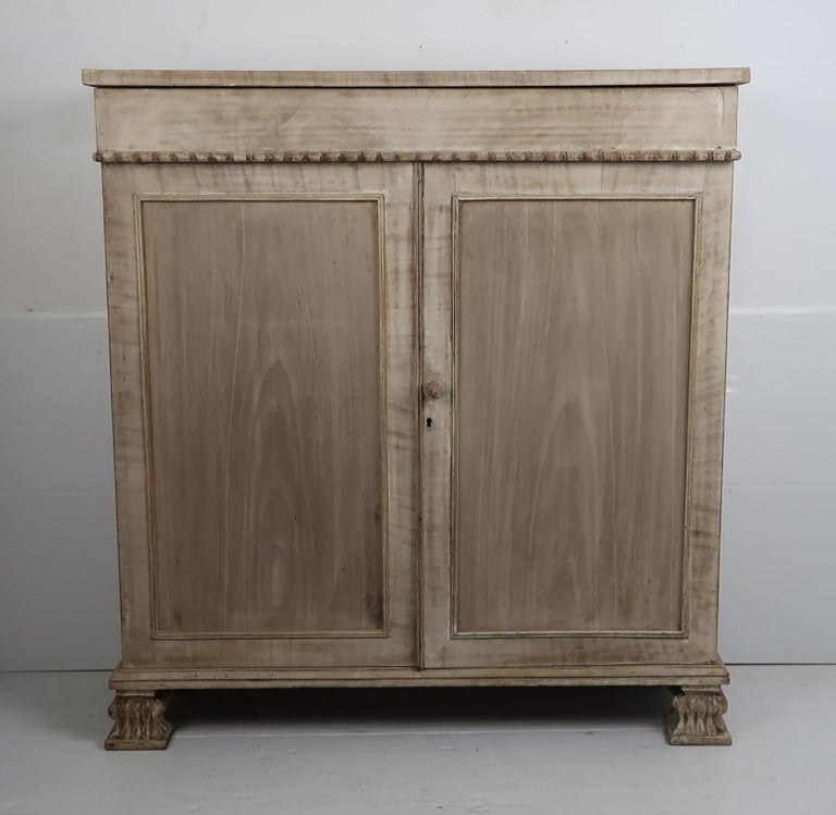 Palladian Small Antique Bleached Mahogany Side Cabinet, English, circa 1835 For Sale
