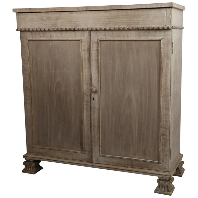 Small Antique Bleached Mahogany Side Cabinet, English, circa 1835 For Sale
