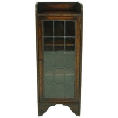 Small Antique Bookcase, Single Door Glass Display Cabinet, Scotland 1920, B1859