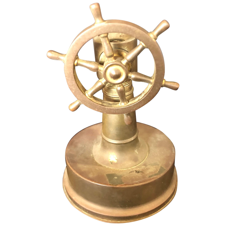 Small Antique Brass Ships Wheel Tabletop Cigar Cutter circa 1920 Tobacco