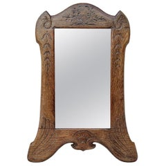 Small Antique Carved Engraved Wood Mirror, circa 1930