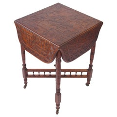 Small Antique Carved Walnut Drop Leaf Table Asian Carved Lamp Card Tea Table