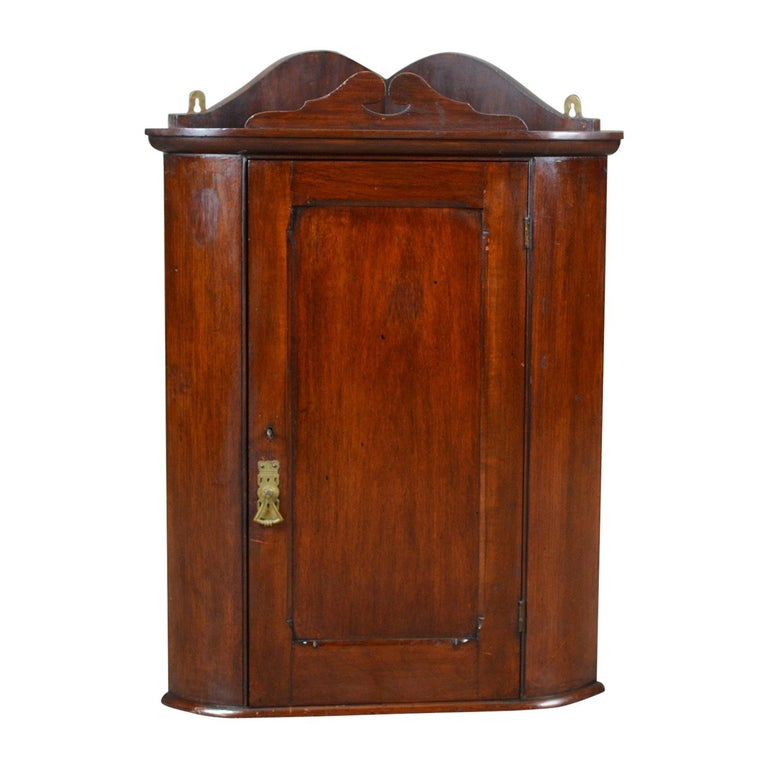 Small Antique Corner Cabinet, English, Walnut, Wall, Hanging, circa 1900 For - Small Antique Corner Cabinet, English, Walnut, Wall, Hanging, Circa 1900