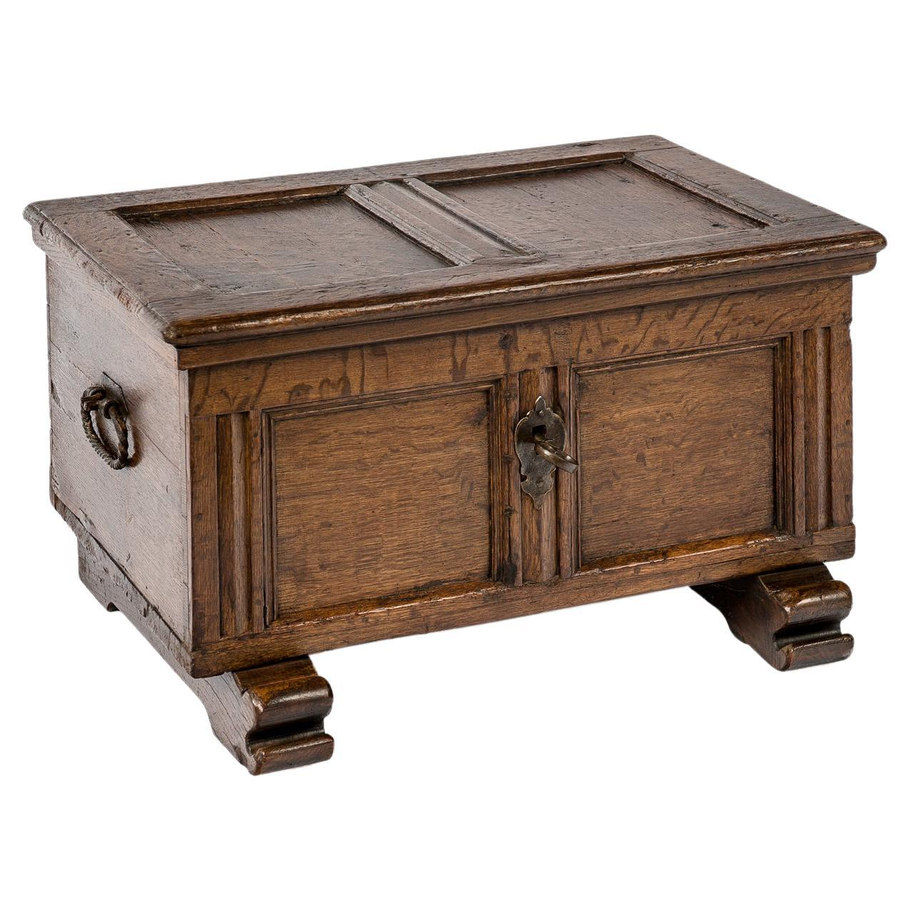 Small Antique Early 18th Century German Oak Paneled Trunk or Coffer