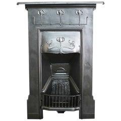 Small Antique Edwardian Art Nouveau Cast Iron Bedroom Fireplace