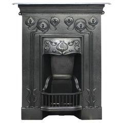 Small Antique Edwardian Art Nouveau Cast Iron Combination Grate