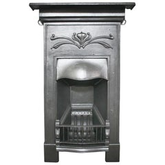 Small Antique Edwardian Cast Iron Bedroom Fireplace in the Art Nouveau Manner