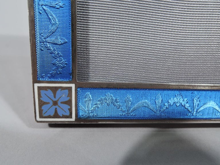 Small Antique Edwardian Regency Silver and Enamel Picture Frame In Excellent Condition For Sale In New York, NY