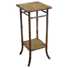 Small Antique English Bamboo Side Table
