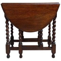 Small Antique English Oak Barley Twist Drop-Leaf Side Sofa Table, 20th Century