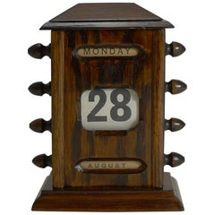 Small Antique English Oak Desk-Top Perpetual Calendar, circa 1900