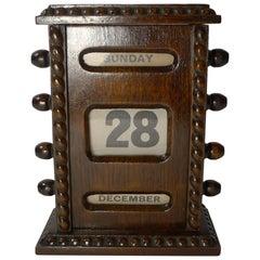 Small Antique English Oak Perpetual Calendar, circa 1900