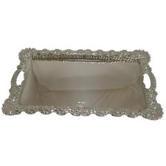 Small Antique English Sterling Silver Serving Tray, 1898