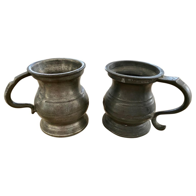 Small Antique Footed Pewter Imperial Tankard Measures For Sale