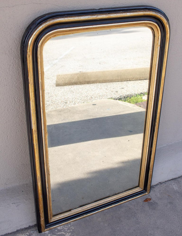 Small Antique French Black Lacquer And Gilt Frame Louis