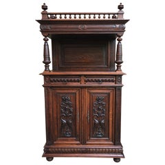 Small Antique French Carved Oak Renaissance Style Cabinet Bookcase Display