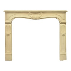 Small Antique French Limestone Louis XV Fireplace Mantel