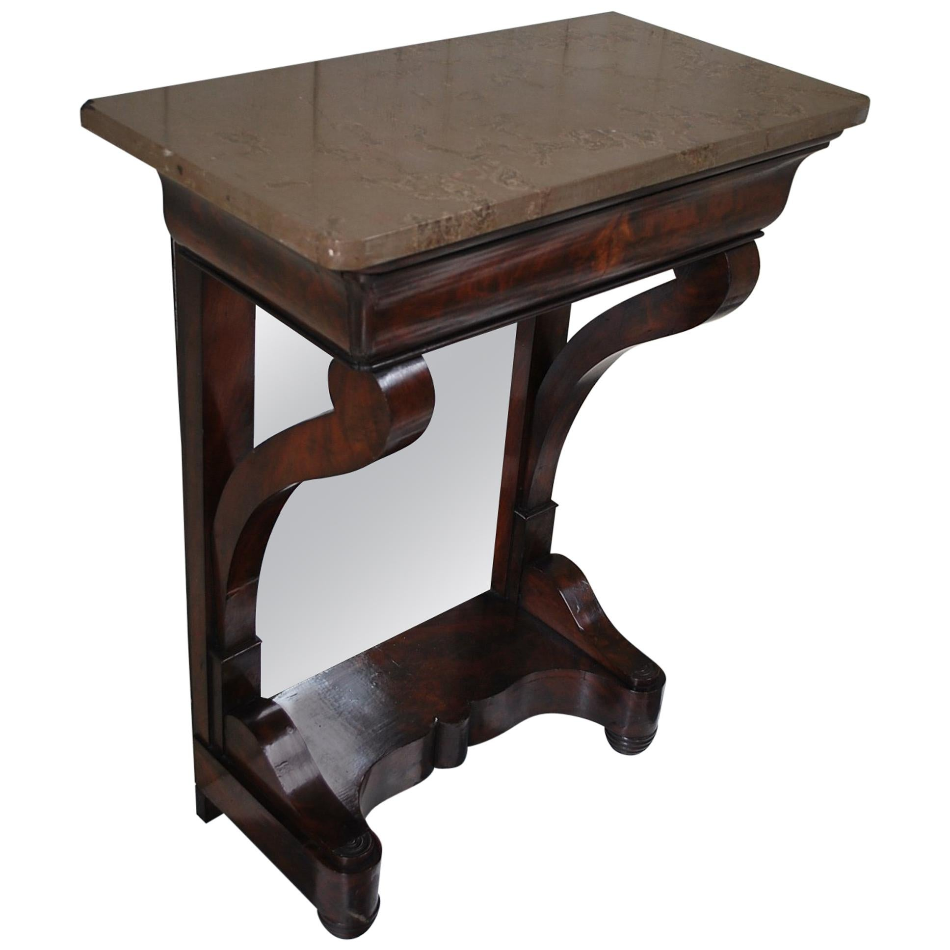 Small Antique French Mahogany Louis Philippe Console /pier Hall Table For  Sale