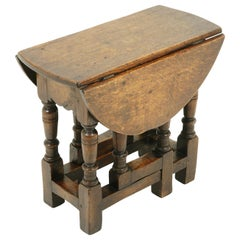 Small Antique Gateleg Table, Oak Drop Leaf Table, Scotland 1920, B2389