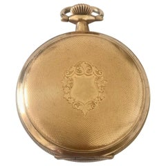 Small Antique Gold Plated Engine Turned Full Hunter Cased Elgin Pocket Watch