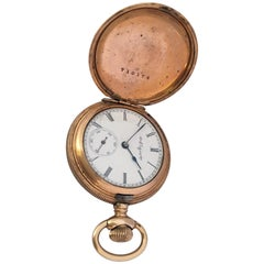 Small Antique Gold-Plated Full Hunter Elgin National Watch Co. Pocket Watch