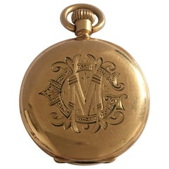 Small Antique Gold-Plated Half Hunter A.W.W. Co. Waltham Mass Pocket Watch