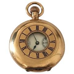 Small Antique Gold-Plated Half Hunter Dennison Case Waltham Pocket Watch