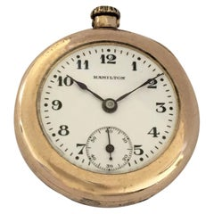 Small Antique Gold-Plated Hamilton Pocket / Fob Watch