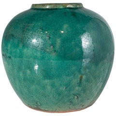 Small Antique Green Glaze Jar