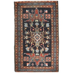Small Antique Hand Knotted Wool Persian Heriz Rug