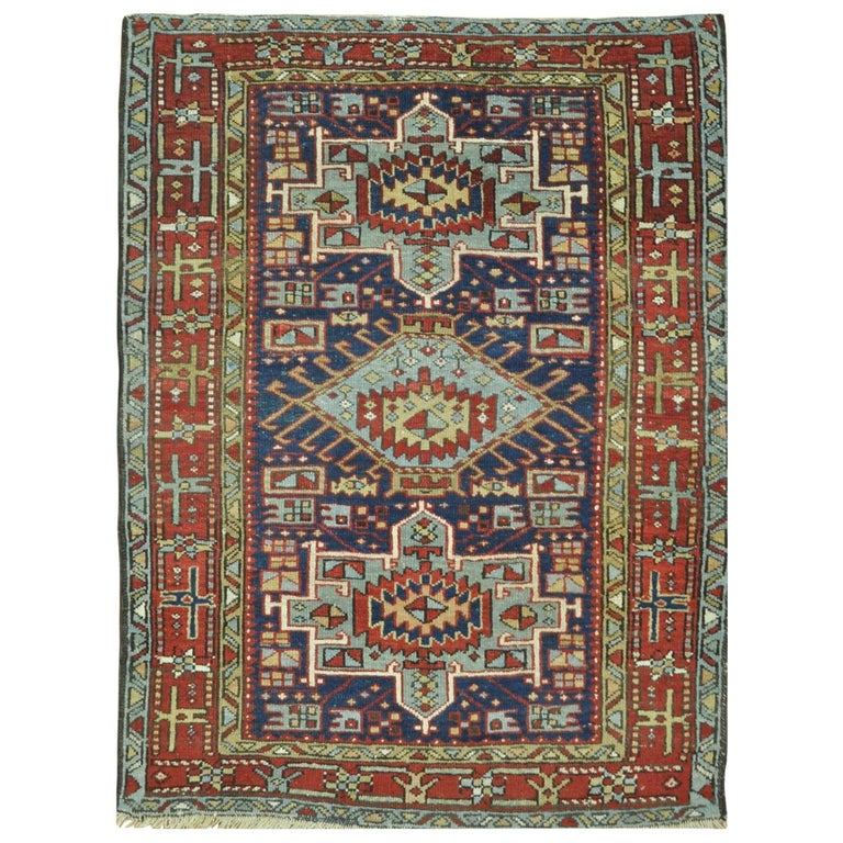 Vintage Persian Heriz Design Wool Area Rug: Small Antique Hand-Knotted Wool Persian Heriz Rug For Sale