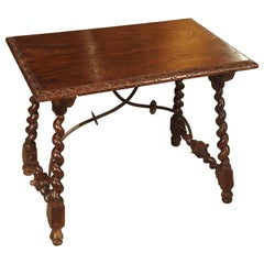 Small Antique Iberian Oak Side Table, Early 20th Century
