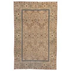 Small Antique Indian Agra Carpet, circa 1920s, Soft Palette