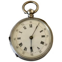Small Antique Key-Wind Silver Pocket Watch