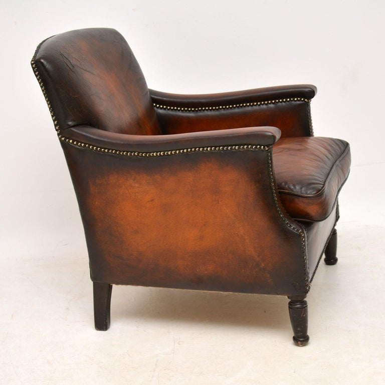Small Antique Leather Armchair at 1stdibs