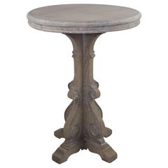 Small Antique Limed Oak Side Table in Baroque Style