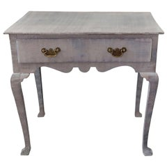 Small Antique Limed Oak Side Table or Desk, English, circa 1720