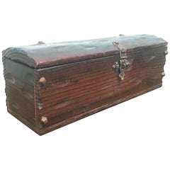 Small Antique Oak Table Trunk - Box from Spain, 18th Century